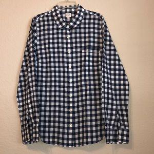 J. Crew gingham navy button down perfect shirt